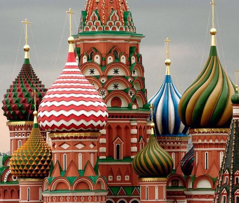Купола Собора Василия Блаженного в Москве, Россия.