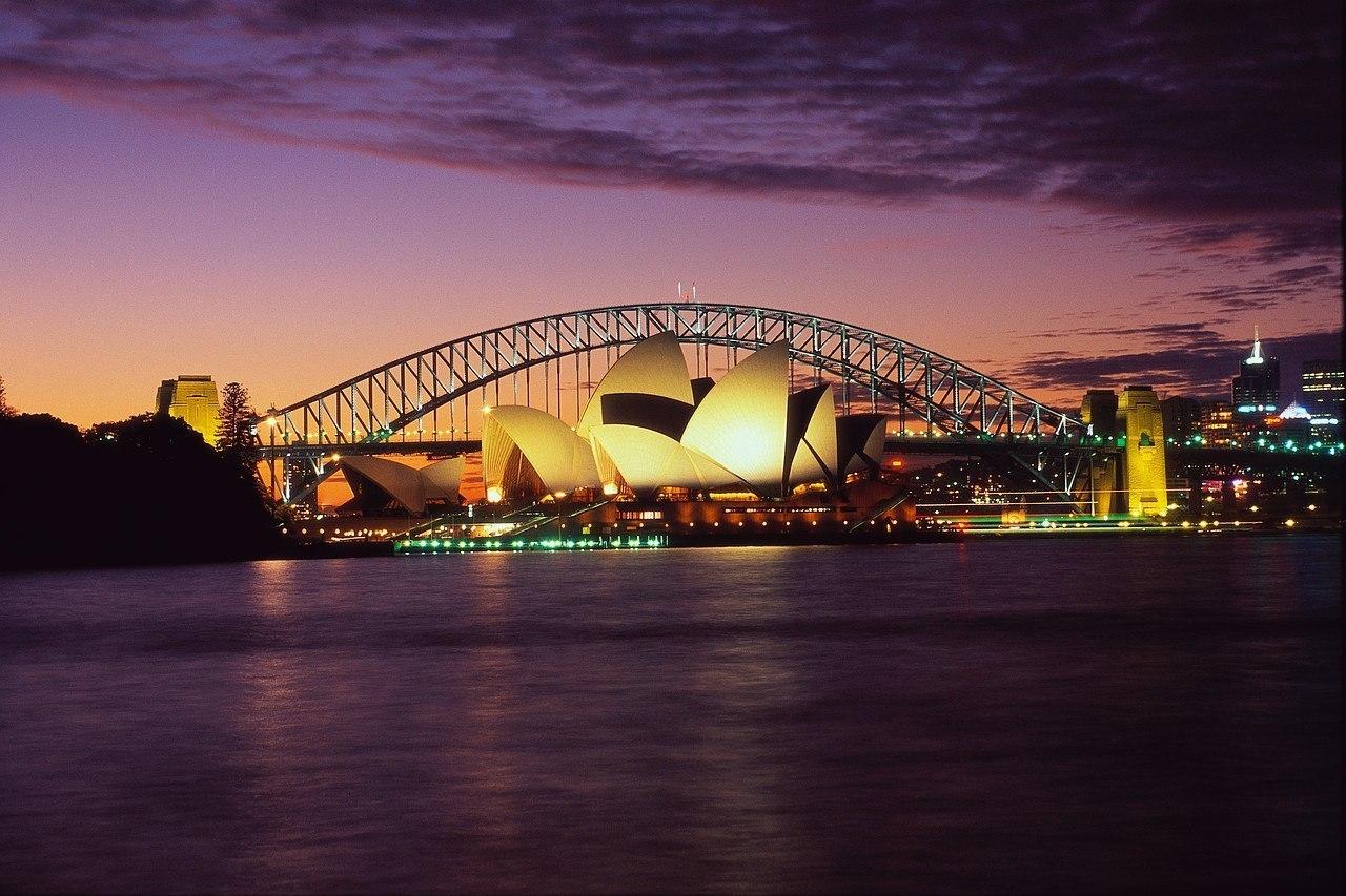 Sydney Opera House and Harbour Bridge at Dusk, Australia загрузить