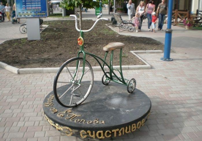 свое время, памятник велосипеду бердянск фото сша